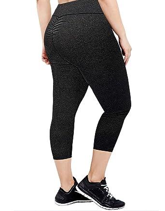 0837850ee HDE Capri Leggings Scrunch Butt Leggings Yoga Pants for Women Plus ...