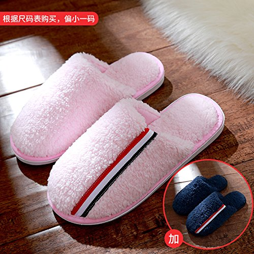 DogHaccd pantofole,Pantofole di cotone femmina inverno spessa coperta coppie maschio soggiorno anti-slittamento peluche caldo pantofole,Rosa2 40-41