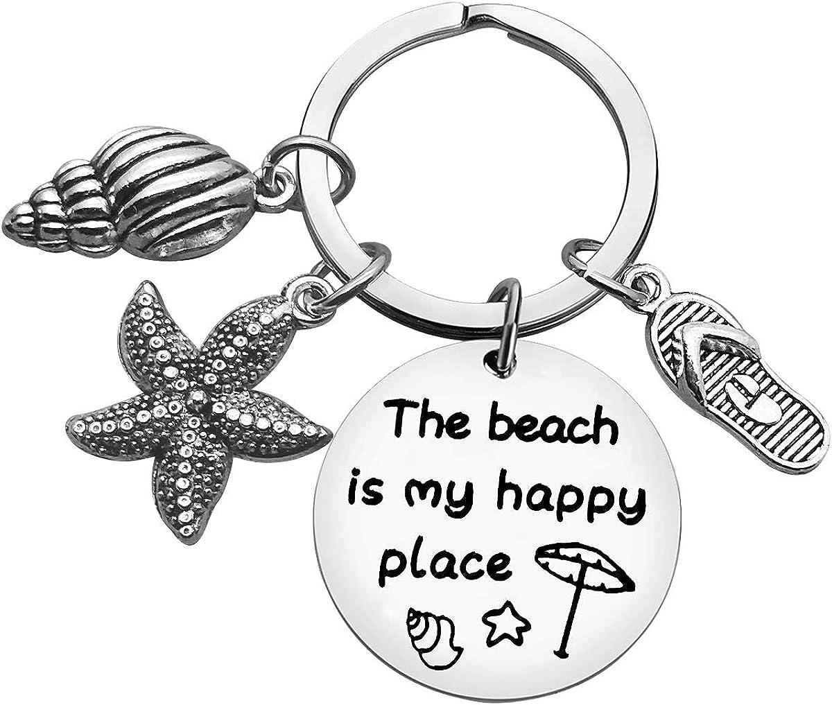Beach Lover Gift Keychain Beach Jewelry Summer Vacation Gift Beach Charm Keychain Vacation Gift Birthday Christmas Graduation Gift for Women Girl Teens Beach Lover