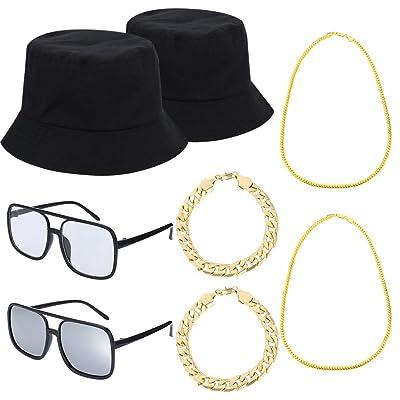 80s 90s Juego de Disfraces de Hip Hop Trajes de Raperos Geniales, Gafas de Sol con Forma de Cubo, Cadena Chapada en Oro para Fiesta Musical: Ropa y accesorios