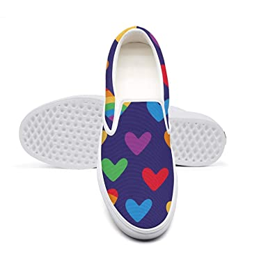 31f39fdc3 Amazon.com   Hearts with Rainbow Gay Parade LGBT Classic Canvas Shoes Slip  On Skate Sneakers Women Fashion Print Cute Durable Shoe   Fashion Sneakers