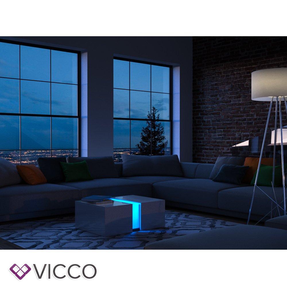 Vicco Couchtisch Led Weiss Hochglanz Loungetisch Wohnzimmer Tisch