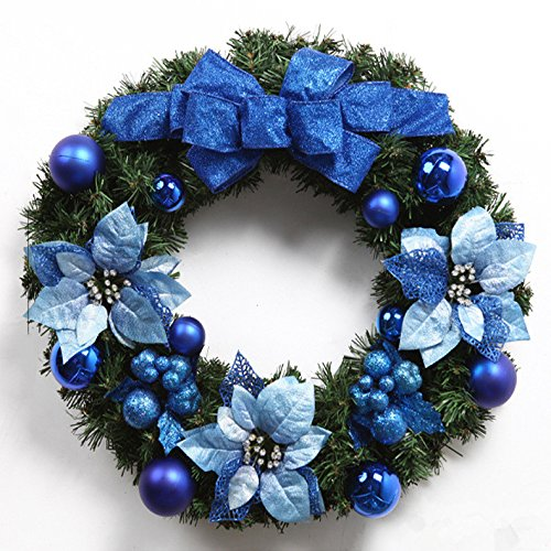 Christmas Garland for Stairs fireplaces Christmas Garland Decoration Xmas Festive Wreath Garland with Christmas wreath blue butterfly Knot wreath Christmas,50CM by Caribou Furniture And Decor