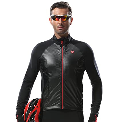 b77f690d8 Santic Men s Cycling Jackets Winter Softshell Windproof Thermal Cold  Weather Jacket Black US S CN