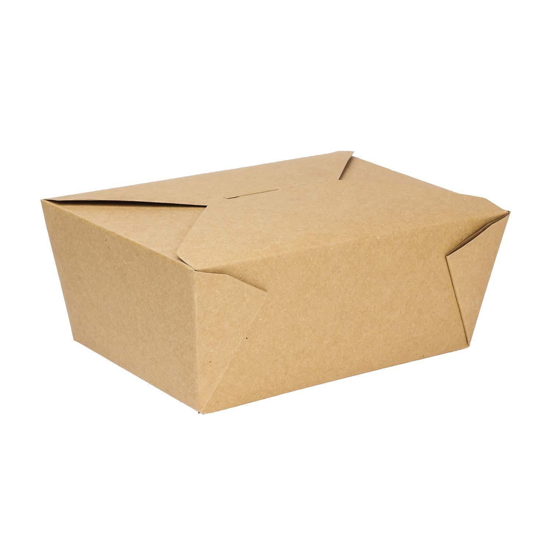 "Karat FP-FTG110K 110 fl.oz. 7.8"" x 5"" X 3.5"" Fold-to-Go Box #4, Kraft (Pack of 160)"