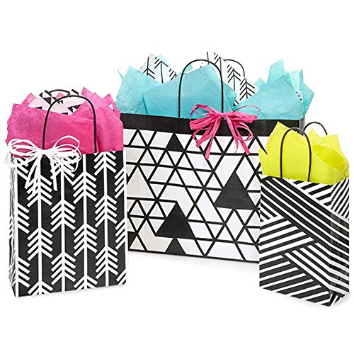 Kinetic Ink White and Black Paper Shopping Bags - Assortment of 3 sizes - 250 Pack by NW
