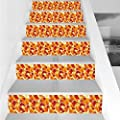 Stair Stickers Wall Stickers,6 PCS Self-adhesive,Abstract,Autumn Fallen Leaves Pattern Seasonal Scene Ornate Illustration Foliage Decorative,Ruby Orange Yellow,Stair Riser Decal for Living Room, Hall,