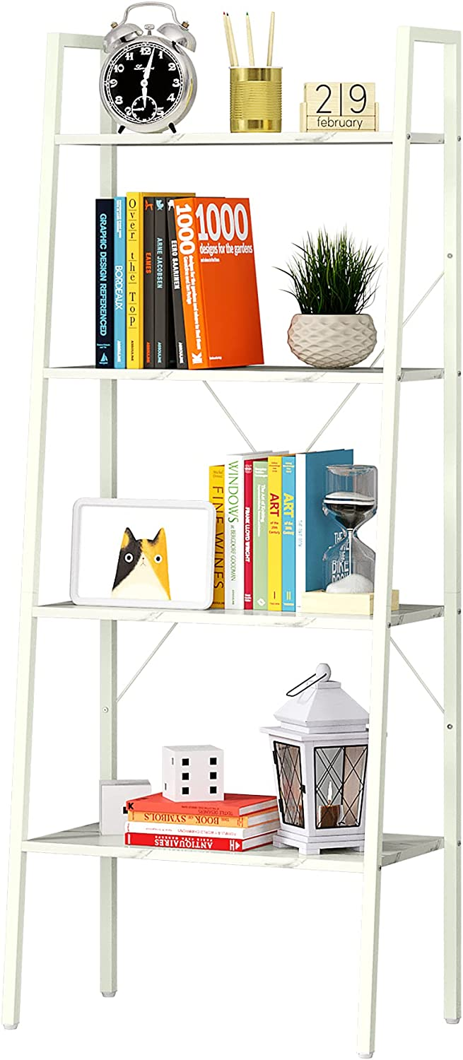 Function Home 4-Tier Ladder Bookshelf, Modern Leaning Bookcase, Easy Assembly,Wood and Metal EtagereBookcase for Living Room, Office in White
