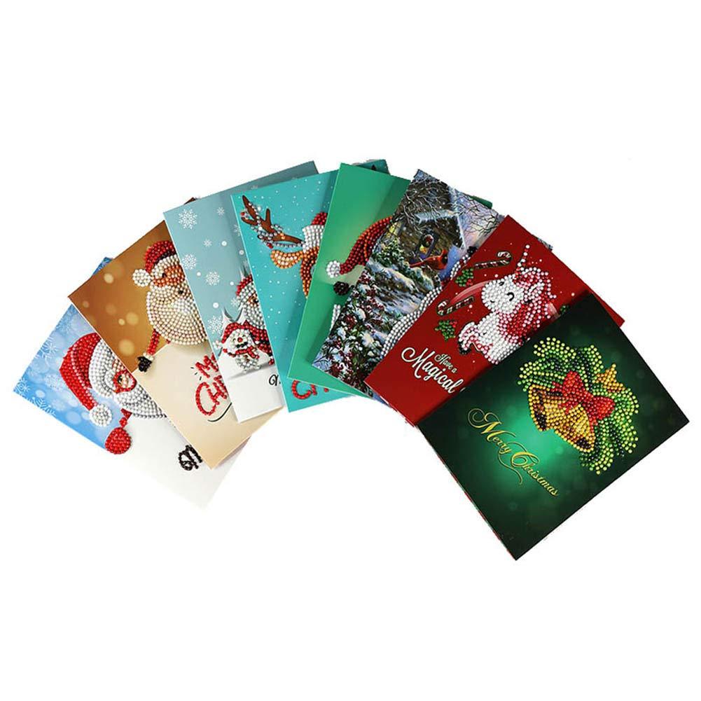 coflower 8 Pezzi/Set 5d Fai da Te Pittura Diamante Biglietto di Auguri Ricamo a Punto Croce Natale Kit