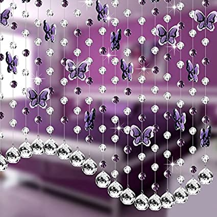 Generic Acrylic Crystal Butterfly Beads Curtains Diy Window Door Curtain Party Bead Passage Decoration Zh01572
