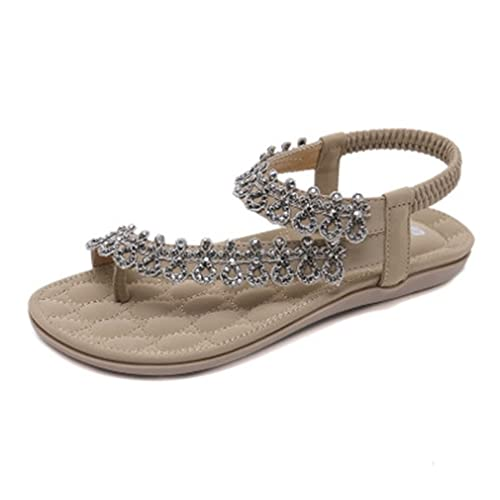 64fa0ef0b283e Image Unavailable. Image not available for. Color  GIY Women s Sparkly  Rhinestone Flat Flip Flops Bohemian Sandals Comfort Summer Beach Elastic  Thong Pink