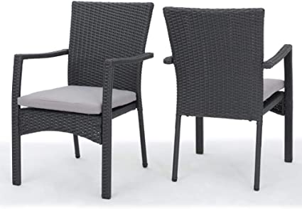 Amazon Com Christopher Knight Home Corsica Outdoor Wicker Dining Chairs With Cushions 2 Pcs Set Grey Garden Outdoor