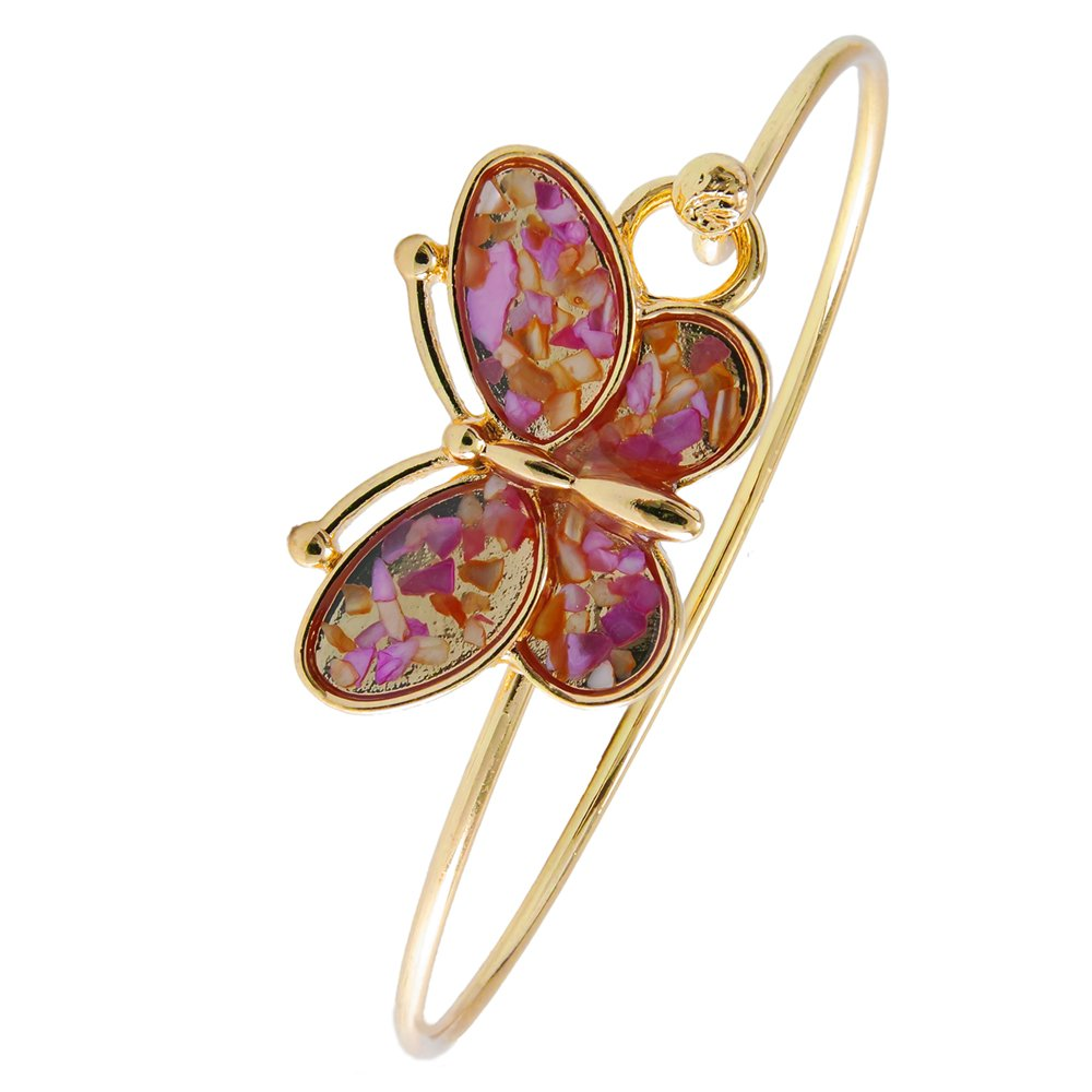 RUXIANG Abalone Shell Debris Butterfly Bangle Insect Hook Opening Bracelet Jewelry