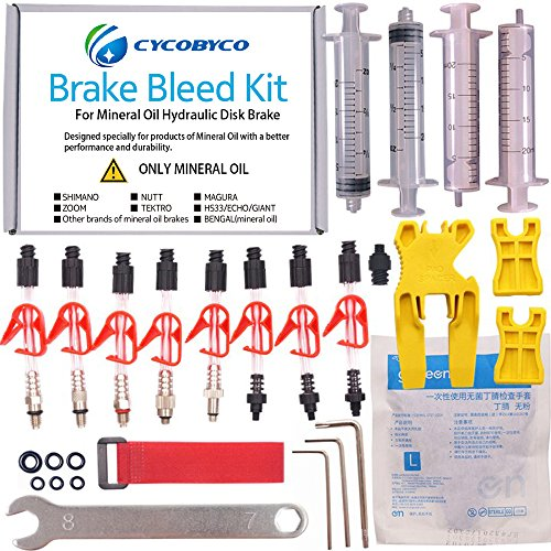 CYCOBYCO Mineral Oil Bicycle Hydraulic Disc Brake Bleed Kit for All Series Shimano/Magura/Tektro/Zoom/CSC/Echo/Giant / HS33 / Nutt Cycling (Genaral kit) ()