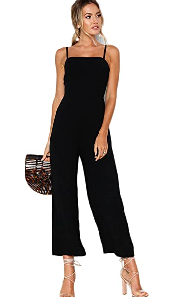 ca5b72f15b1 Longwu Women s Sexy Spaghetti Strap Backless Jumpsuit Fashion Wide Leg High  Waist Pants Rompers Black-