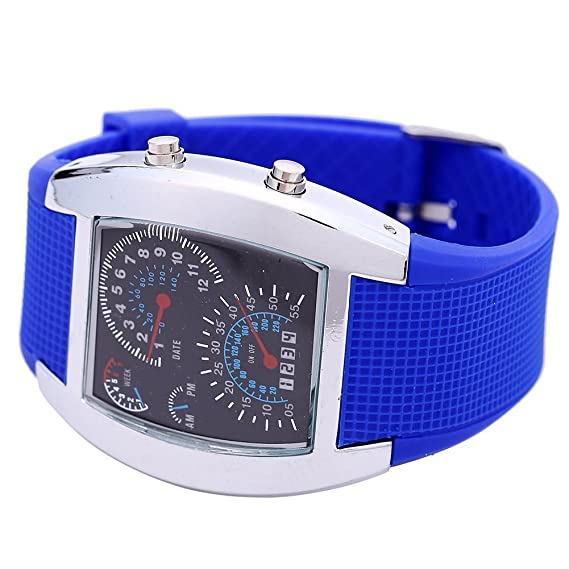 So Ver Hombres Mujeres Cool Matriz azul Flash Dot LED Racing reloj digital LED relojes: Amazon.es: Relojes
