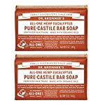 Dr. Bronner's - Pure-Castile Bar Soap (Eucalyptus, 5 ounce, 2-Pack) - Made with Organic Oils, For Face, Body and Hair… 2 MOISTURIZING LATHER THAT WON'T DRY YOUR FACE, BODY, OR HAIR: Our bar soaps produce a rich lather that won't dry out your skin! Dr. Bronner's is made with only the purest certified organic oils and will leave your skin feeling soft and smooth. MADE WITH ORGANIC OILS THAT ARE GENTLE and EFFECTIVE: We don't add any chelating agents, dyes, whiteners, or synthetic fragrances—only all-natural, vegan ingredients that are gentle, effective, and mild. Use on your face, body, or hair! NO SYNTHETIC PRESERVATIVES, DETERGENTS, OR FOAMING AGENTS: Our Pure-Castile Bar Soap is made with plant-based ingredients you can pronounce—no synthetic preservatives, thickeners, or foaming agents—good for the environment and great for your skin!