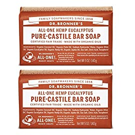 Dr. Bronner's - Pure-Castile Bar Soap (Eucalyptus, 5 ounce, 2-Pack) - Made with Organic Oils, For Face, Body and Hair… 3 MOISTURIZING LATHER THAT WON'T DRY YOUR FACE, BODY, OR HAIR: Our bar soaps produce a rich lather that won't dry out your skin! Dr. Bronner's is made with only the purest certified organic oils and will leave your skin feeling soft and smooth. MADE WITH ORGANIC OILS THAT ARE GENTLE and EFFECTIVE: We don't add any chelating agents, dyes, whiteners, or synthetic fragrances—only all-natural, vegan ingredients that are gentle, effective, and mild. Use on your face, body, or hair! NO SYNTHETIC PRESERVATIVES, DETERGENTS, OR FOAMING AGENTS: Our Pure-Castile Bar Soap is made with plant-based ingredients you can pronounce—no synthetic preservatives, thickeners, or foaming agents—good for the environment and great for your skin!