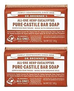 Dr. Bronners Pure Magic Bar-Castilla Jabón orgánico Eucalyptus - 5 Oz, 2 pack