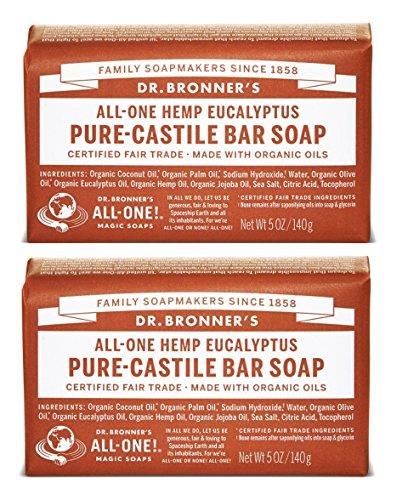 Dr. Bronner's Pure-Castile Bar Soap - Eucalyptus, 5oz. (2 Pack)