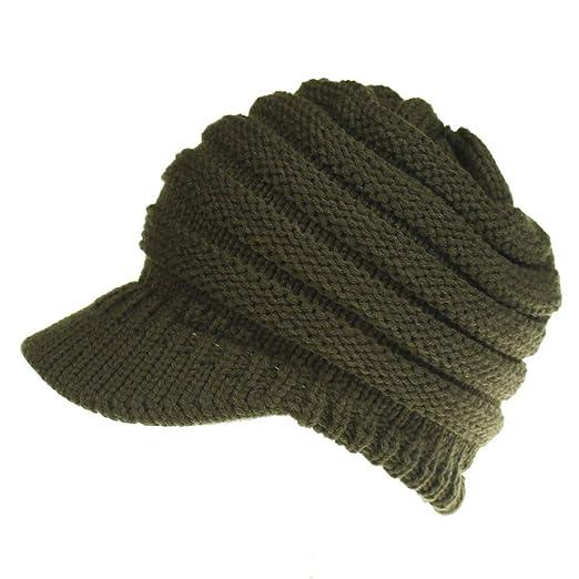 468c28cef609d KPWIN Ponytail Beanie Women Winter Warm Knit Beanie Hats Messy Bun Ponytail  Visor Hat (Army