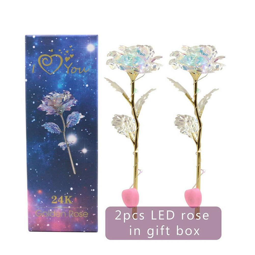 Cutogain Crystal Rose Flower Kit, Home Decor Holiday Party Wedding Anniversary, Anniversary, 2 Sets LED Light Crystal Rose Flower Kit for Anniversary Valentine's Day 2 Sets LED Light Crystal Rose Flower Kit for Anniversary Valentine' s Day