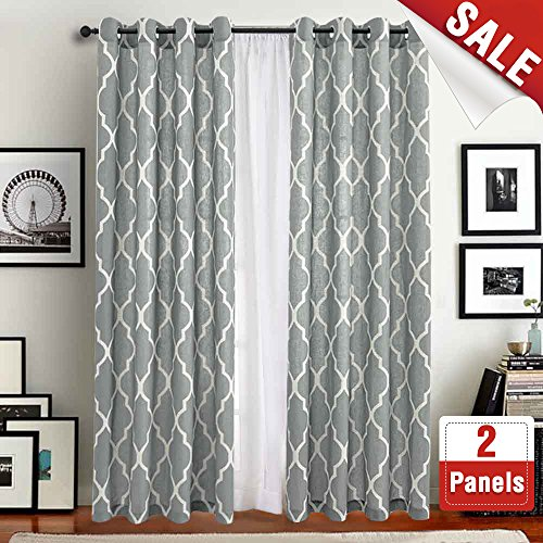 Moroccan Tile Print Curtains for Living Room Curtain - Quatrefoil Flax Linen Blend Textured Grommet Lattice Window Curtain Set for Bedroom Geometry - 50