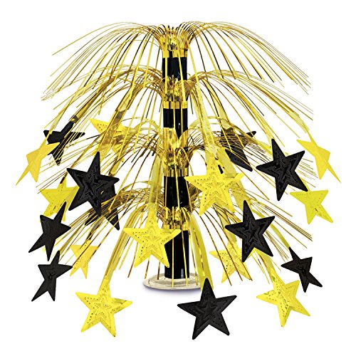 Beistle 50553-BKGD Black and Gold Star Cascade Centerpiece, 18