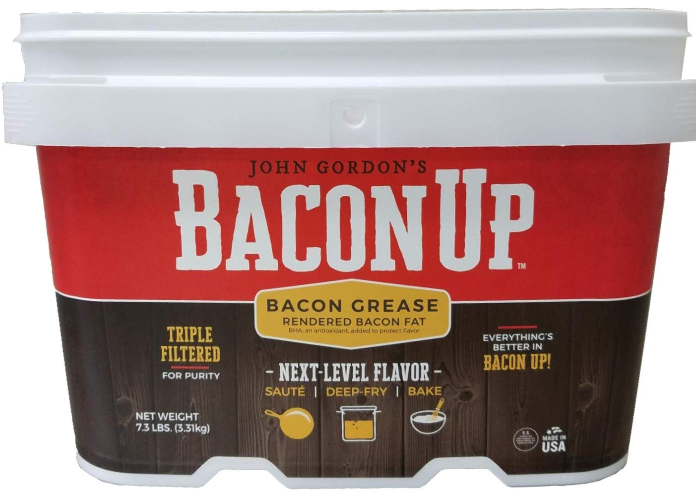 Bacon Up Bacon Grease Rendered Bacon Fat for Frying, Cooking, Baking, 1 Gallon