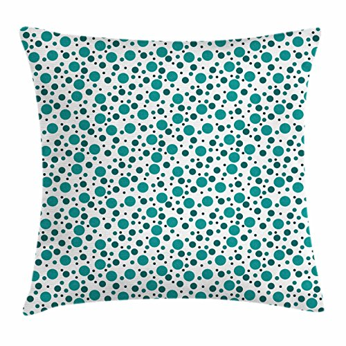 Cushion Polka - Ambesonne Teal Throw Pillow Cushion Cover, Abstract Traditional Polka Dots on Modern Artwork European Inspired Pattern Print, Decorative Square Accent Pillow Case, 18 X 18 Inches, Teal White