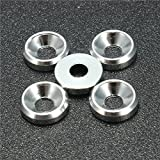 5Pcs M4 Aluminum Alloy Cone Cup Head Screw Gasket Countersunk Washer – Fasteners Spacers & Standoffs – (Silver) – 1X Mini Clip For Sale
