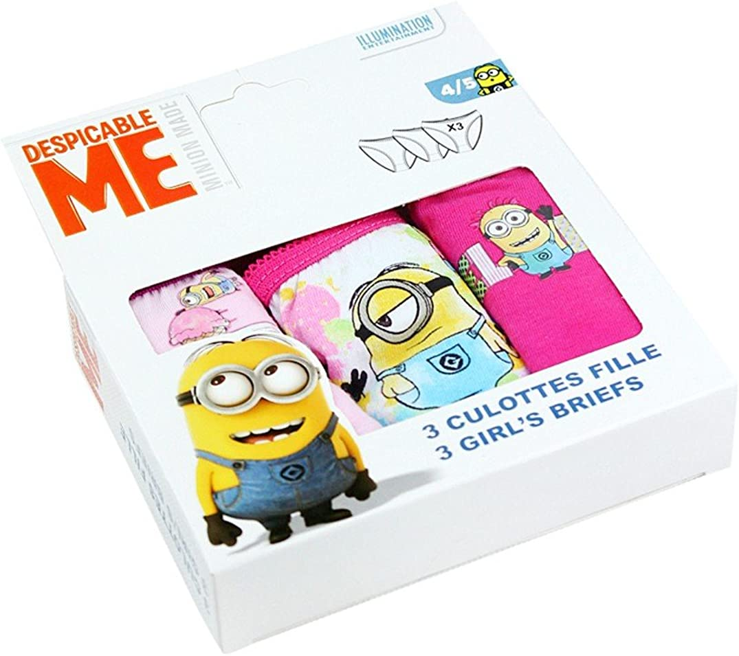 3 Pairs Official Despicable Me Minions Ice-Cream Girls Multi Pack Cotton Briefs Underwear Pants