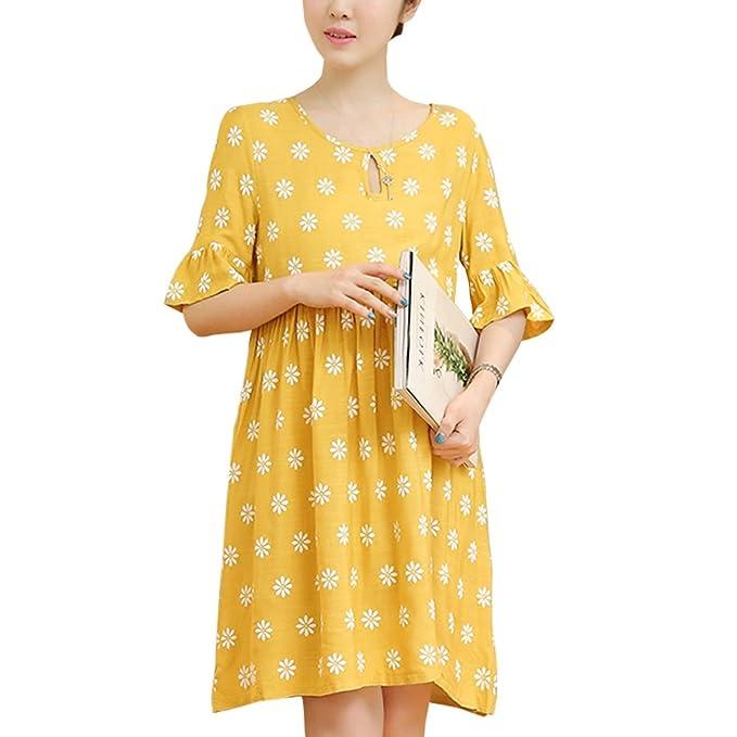 YIHIGH Embarazo Vestido Lactancia Mujer - Moda Imprimir Premamá Blusa Maternidad de Manga Corta Camiseta Vestidos: Amazon.es: Ropa y accesorios