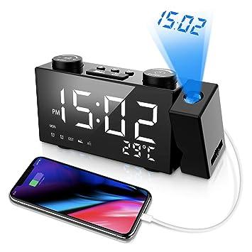 ORSERA Despertador Proyector,Radio Reloj FM, 6 LED Pantalla ...