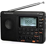 Retekess V115 Portable AM FM Radio with Shortwave Radio MP3 Player Digital Record Support Micro SD TF Card Sleep Timer and Re