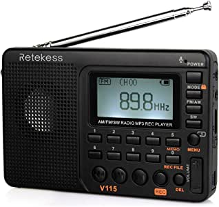 Retekess V115 Portable AM FM Radio with Shortwave Radio MP3 Player Digital Record Support Micro SD TF Card Sleep Timer and Rechargeable Battery(Black)