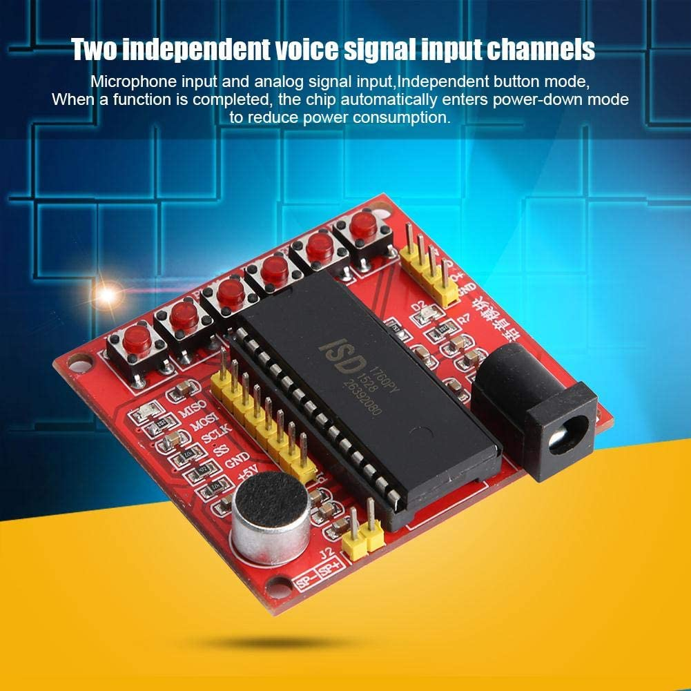 ASHATA ISD1700 Series 5V Voice Recording and Playback Module with Power and Chip Indicator Light,Recording Module Recording Board With Power Indicator Light and Chip Indicator Light