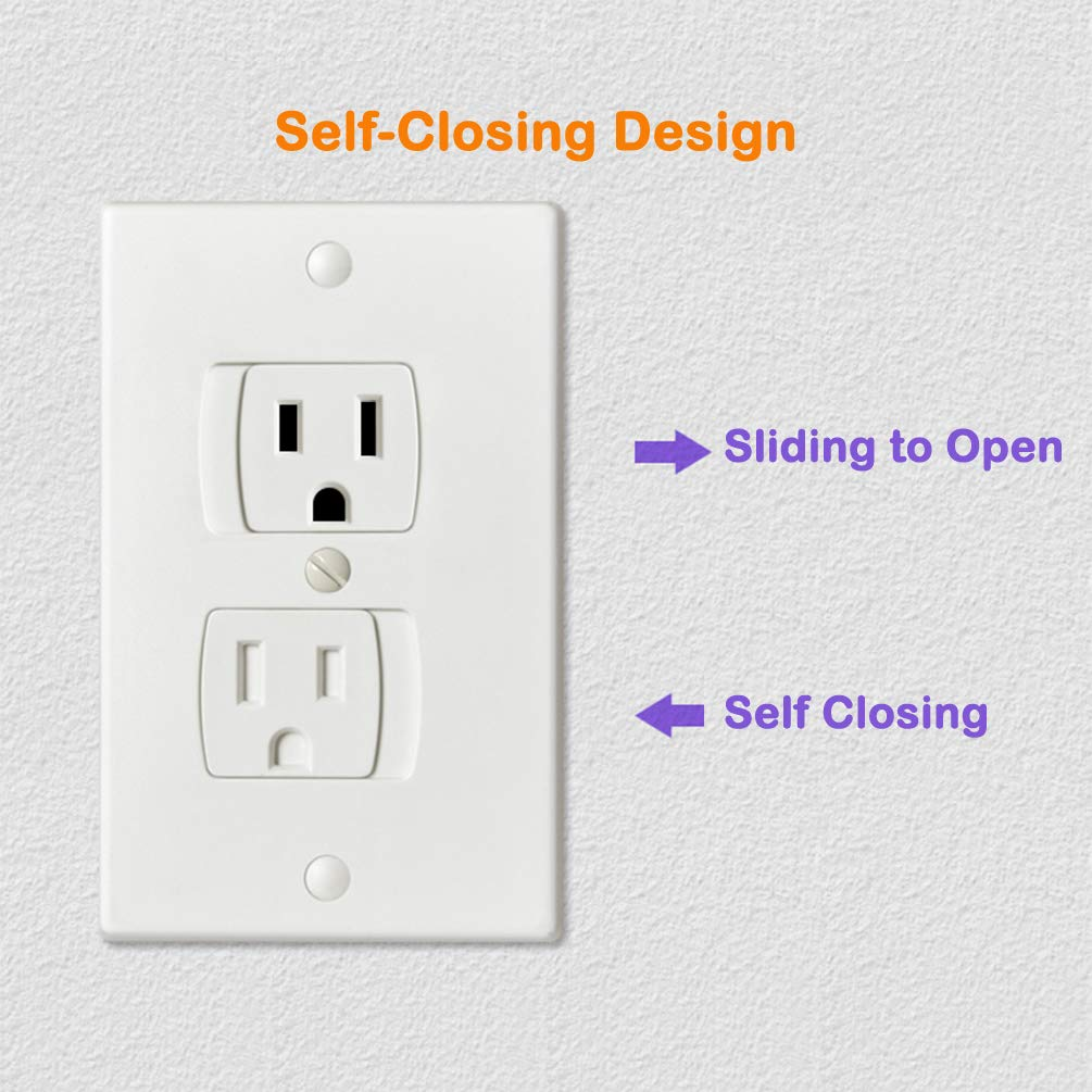 Socub Outlet Covers with Self-Closing for Baby Proofing White 6 Pack