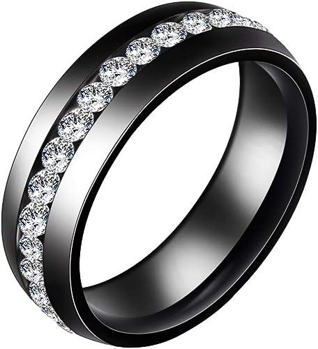 9mm Black Tungsten Carbide Ring Diamond Simulated Men Wedding Band Size 6-13