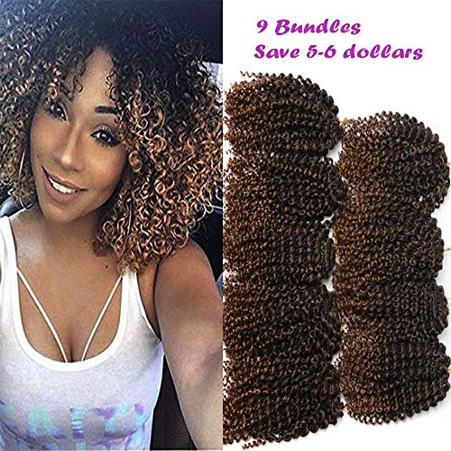 - 9 Bundles Marlybob Ombre Crochet Hair 8 Inch Kinky Curly Mali bob Crochet Braids Synthetic Hair Extensions T30