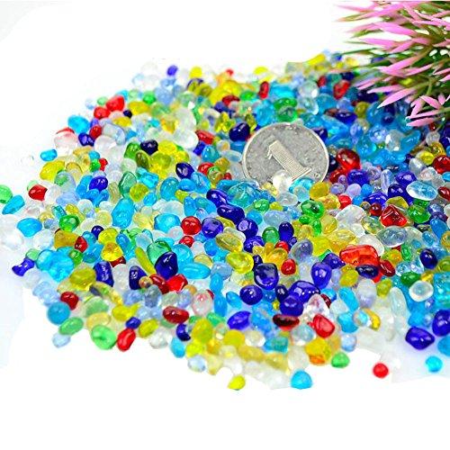 Eforlike 1 Pound Multicolor Matte Beach Sea Glass Beads for Aquarium,Gorgeous Fish Tank Decoration Aquarium Ornament