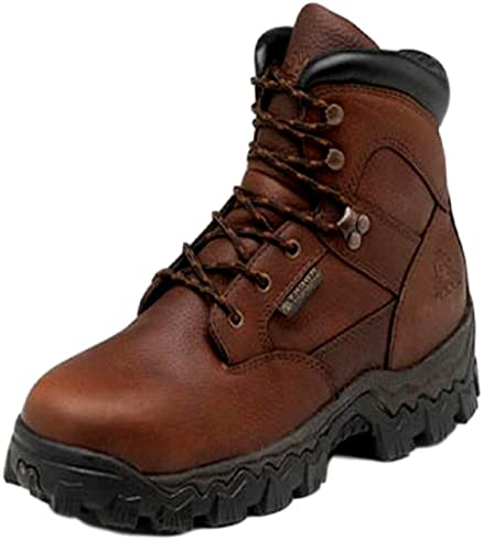 Rocky Work Boots Mens Waterproof Steel Toe EH Leather 8 W Brown R6003