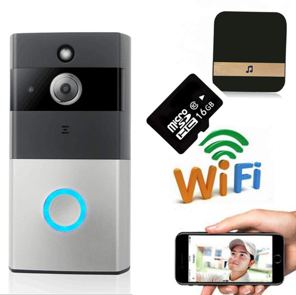 L@CR Video Türklingel, Doorbell 720P HD WiFi Überwachungskamera In 16G Speicher, Mit Glockenspiel, Echtzeit-Video-Und Zwei-Wege-Gespräch, PIR Bewegungserkennung Und App-Steuerung Für Ios Und Android