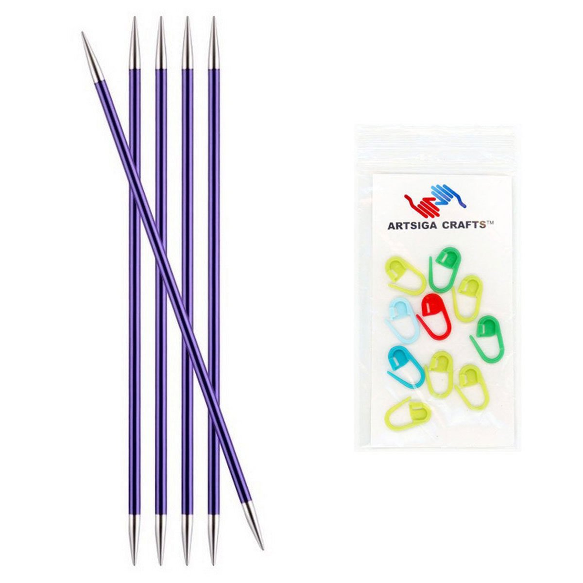 Bundle with 10 Artsiga Crafts Stitch Markers 140003 Knitters Pride Zing Double Pointed Knitting Needles 6in Size US 1.5 2.5mm