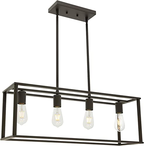 BONLICHT Rectangle Dining Room Lighting Fixture Hanging Oil Rubbed Bronze 4 Light Rustic Farmhouse Linear Chandelier Industrial Vintage Kitchen Island Metal Cage Pendant Light
