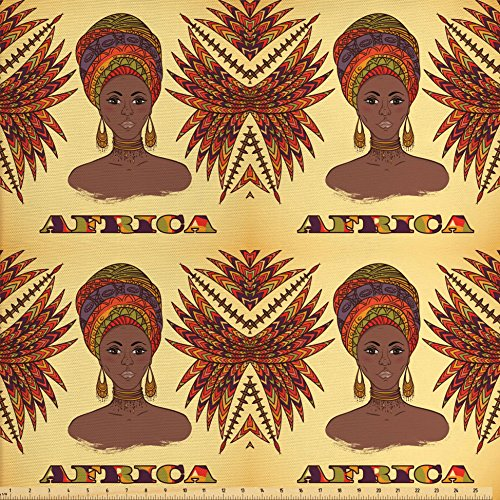 Ambesonne African Fabric by the Yard, Ethnic Woman in Traditional Turban and Palms Cultural Folk Graphic Art, Decorative Fabric for Upholstery and Home Accents, Light Yellow Umber (Home Decorative Fabric)