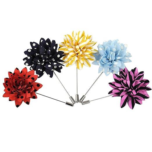 03eb339590b2b Amazon.com: 5pcs Men's Handmade Flower Lapel Pin Brooch Boutonniere ...