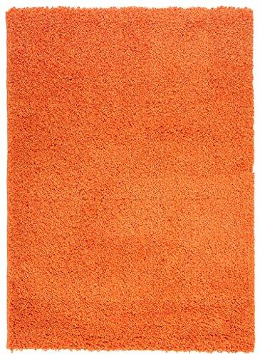 "Ottomanson Soft Cozy Color Solid Shag Area Rug Contemporary Living and Bedroom Soft Shag Area Rug, Orange, 5'3"" L x 7'0"" W"