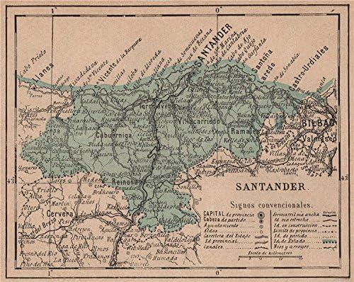 Cantabria Santander. Mapa Antiguo de la Provincia – 1908 – Old Antiguo Mapa Vintage – Mapas de Impreso de España: Amazon.es: Hogar