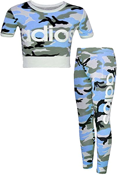 7-13 Years by Original FAST TREND CLOTHING Kids Girls Adios Camouflage Military Army Crop Top /& Legging Set Age